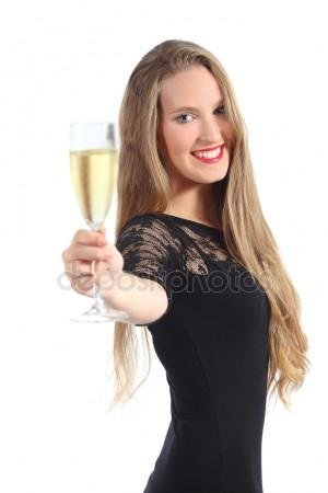 drunk woman toasting